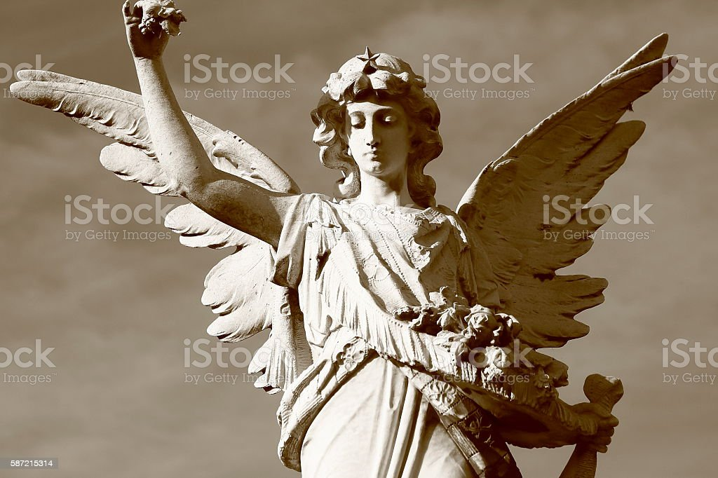 Beautiful powerful Madonna Angel offering hope, Recoleta cemetery, Buenos Aires stock photo