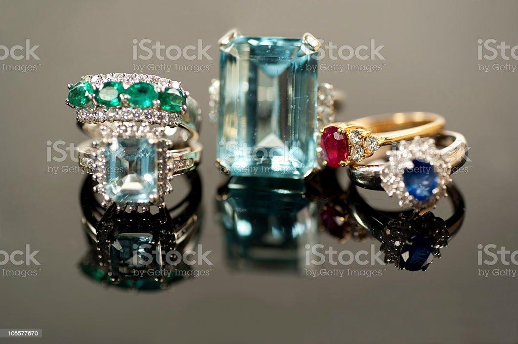 beautiful precious gemstone rings stock photo