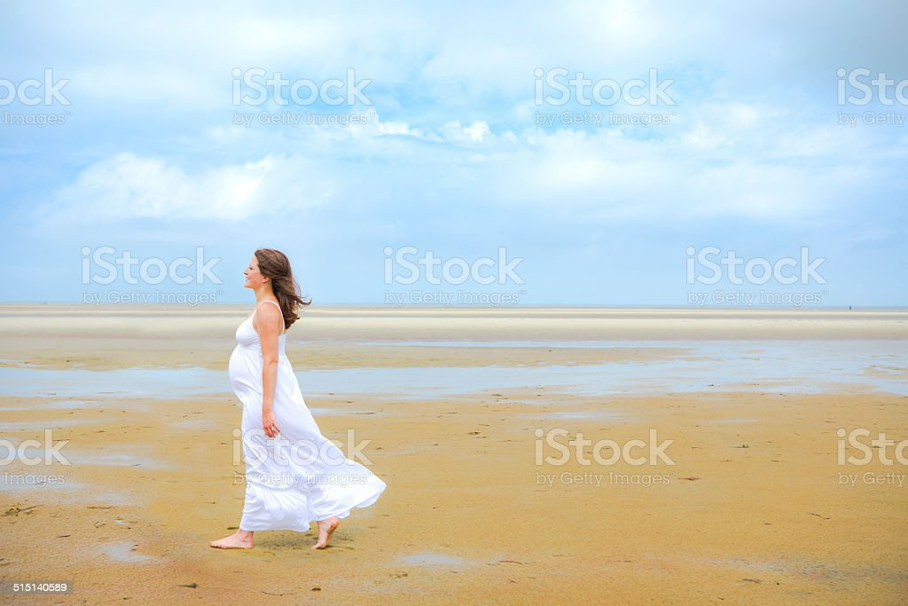 Beautiful Pregnant Woman on the Beach stock photo