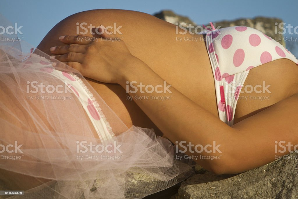 Beautiful pregnant woman outdoors royalty-free stock photo