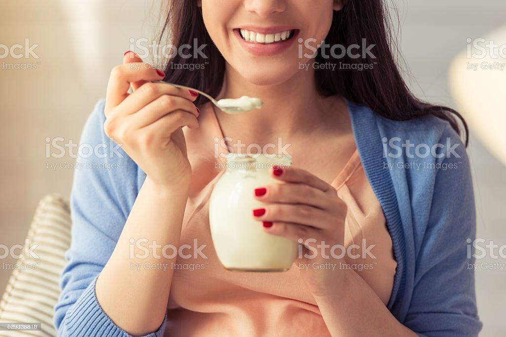 Beautiful pregnant woman stock photo
