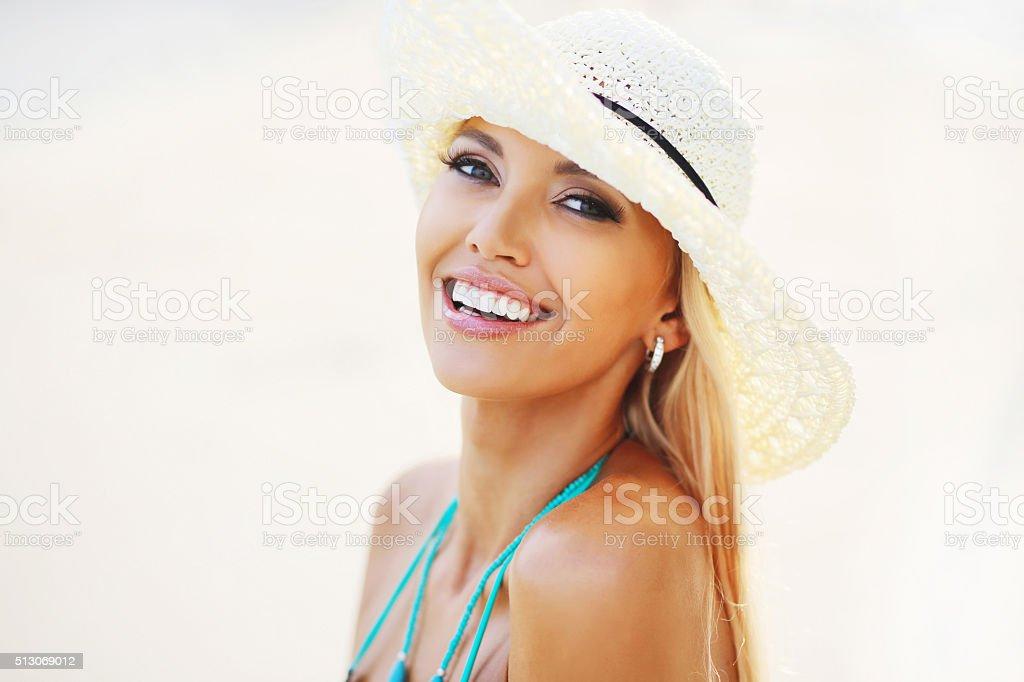 Beautiful pretty woman smiling stock photo