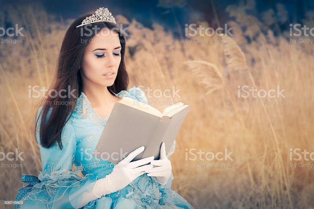Beautiful Princess Reading a Book stock photo