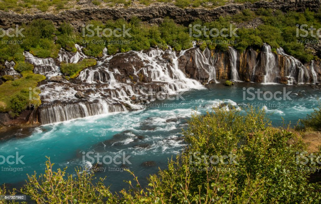 Beautiful pristine waterfall in Iceland stock photo