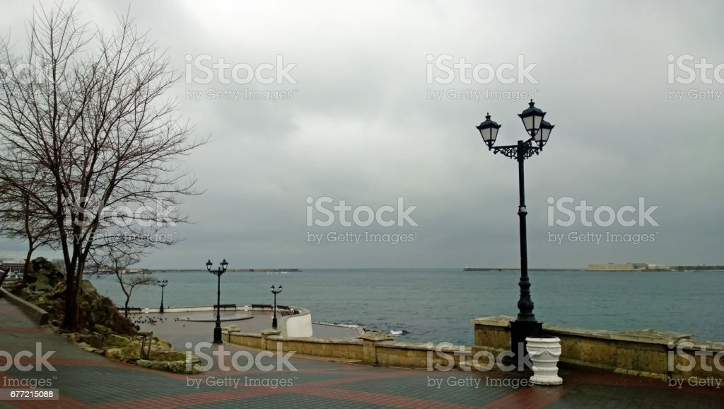 A beautiful promenade in the city of Sevastopol in rainy weather stock photo