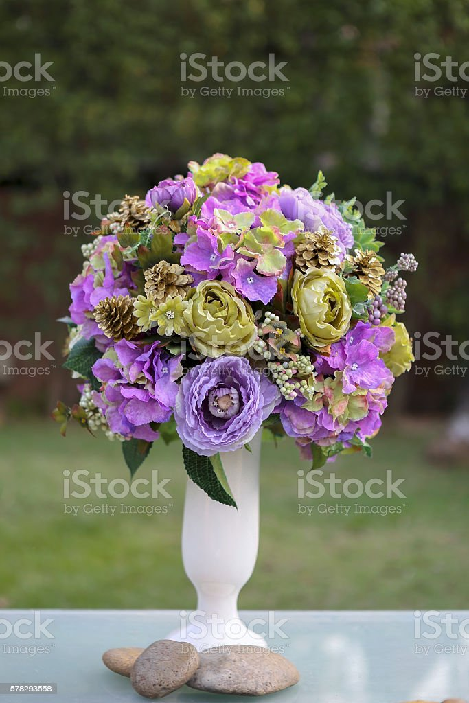 Beautiful purple flower vase stock photo