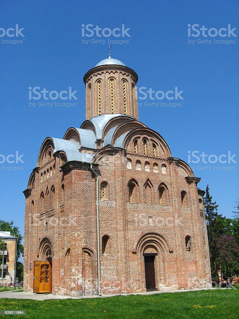 Beautiful Pyatnytska church in CHernihiv stock photo