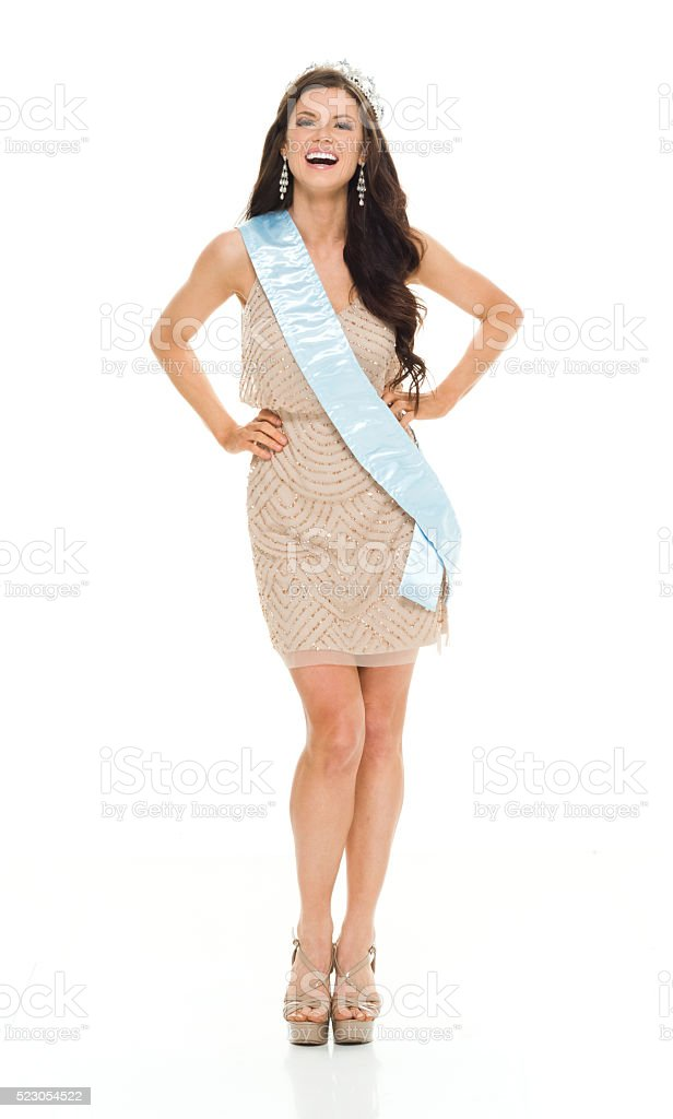 Beautiful queen standing and looking at camera stock photo