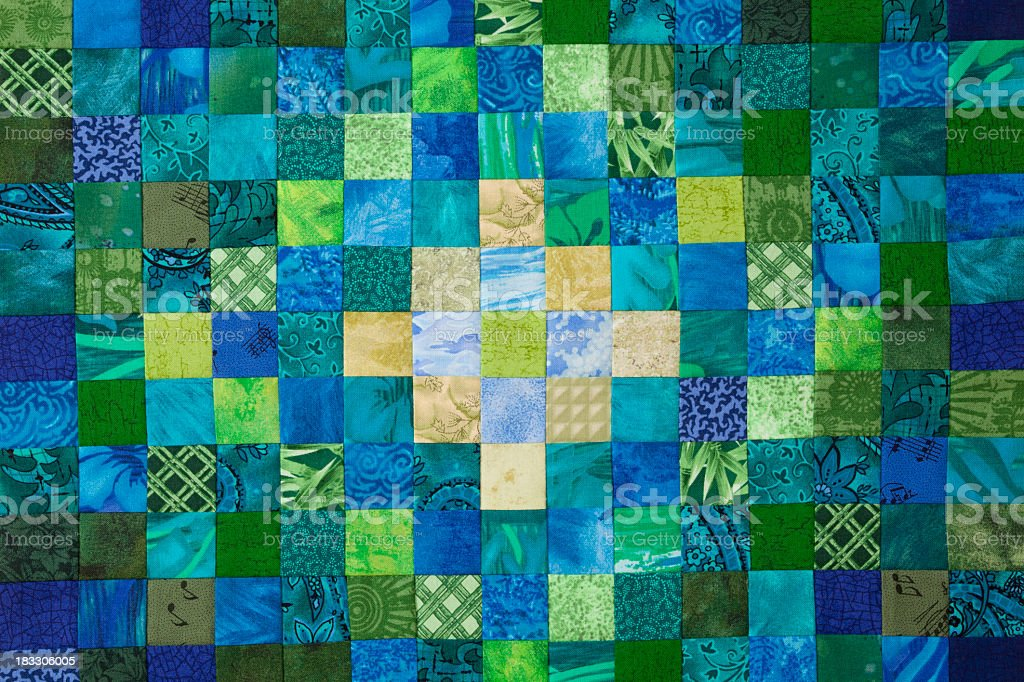Beautiful quilted background in multi color stock photo