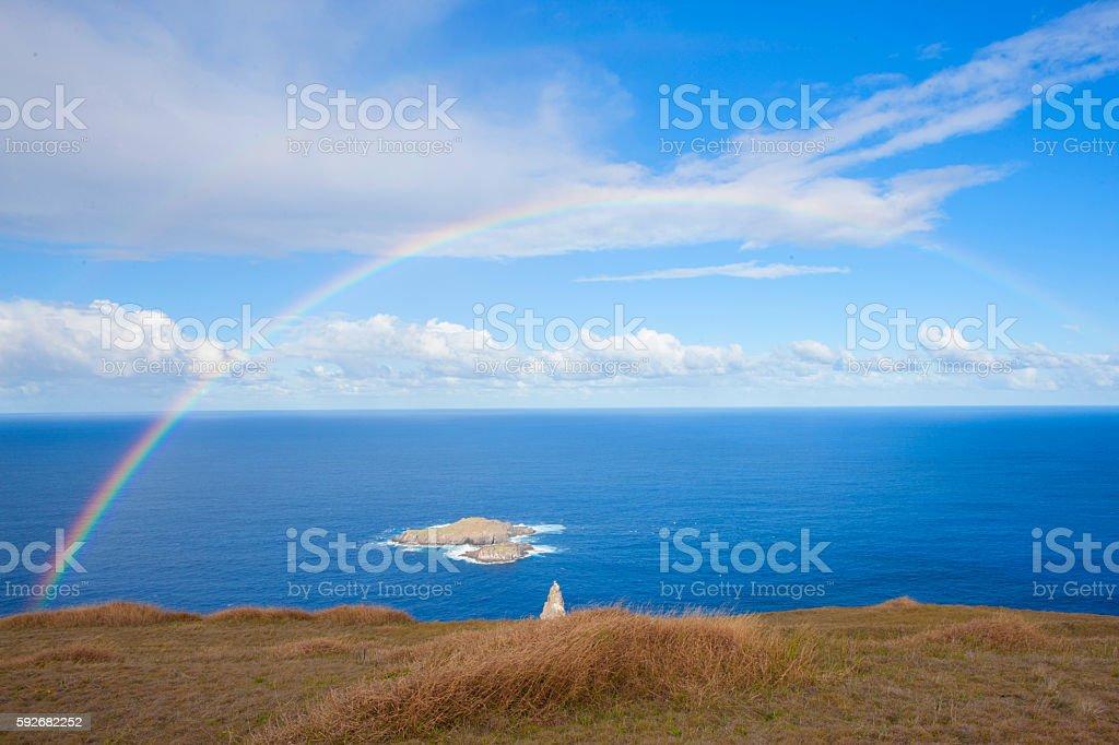 beautiful rainbow in Easter Island stock photo