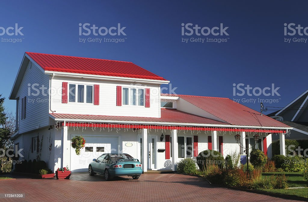 Beautiful red and white suburban house royalty-free stock photo