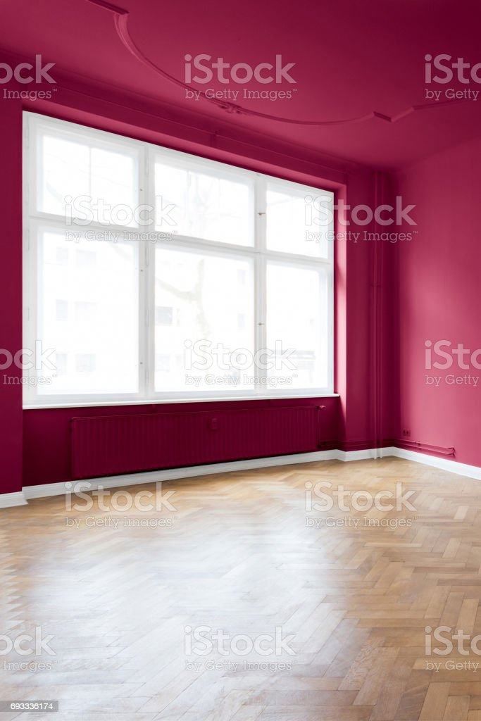beautiful red  apartment room stock photo