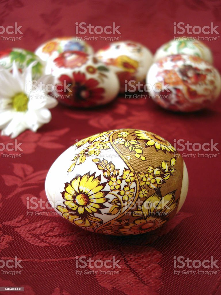 beautiful red easter eggs and flower royalty-free stock photo