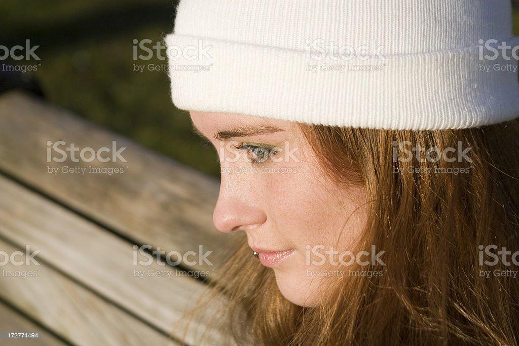Beautiful Red Head Teenage Girl Profile Portrait, Copy Space royalty-free stock photo