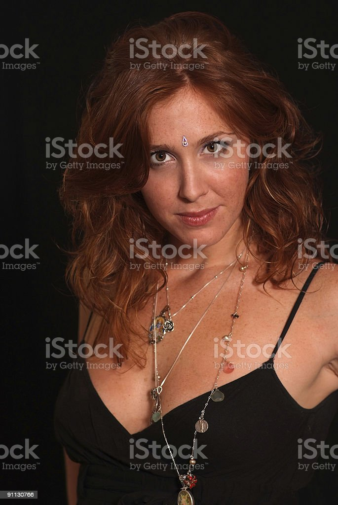Beautiful red head with freckles stock photo
