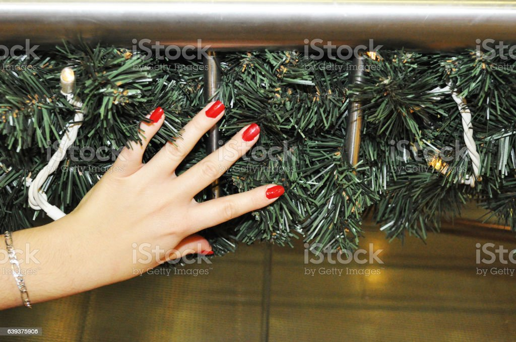 Beautiful red nails of young women stock photo