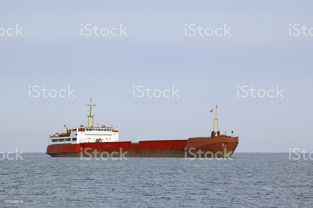 Beautiful red ocean ship royalty-free stock photo