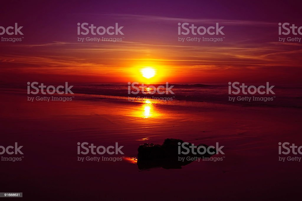 Beautiful red purple sunset in Portugal royalty-free stock photo