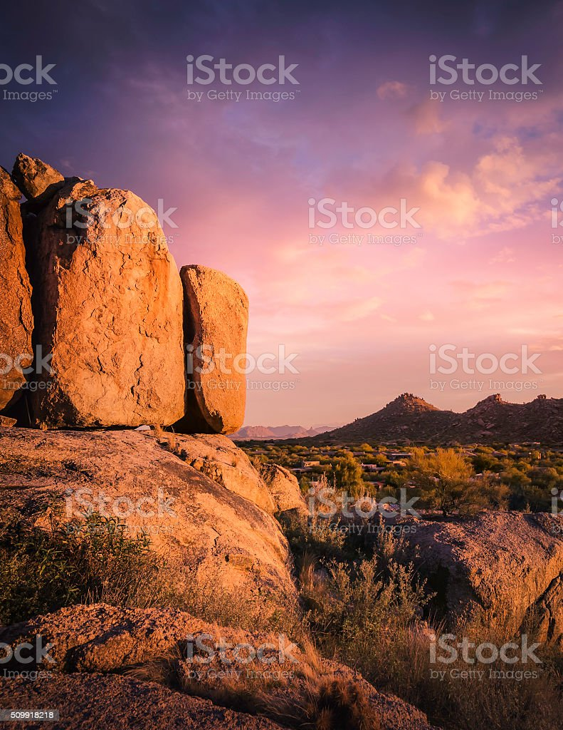 Beautiful red rock boulders,scottsdale,AZ stock photo