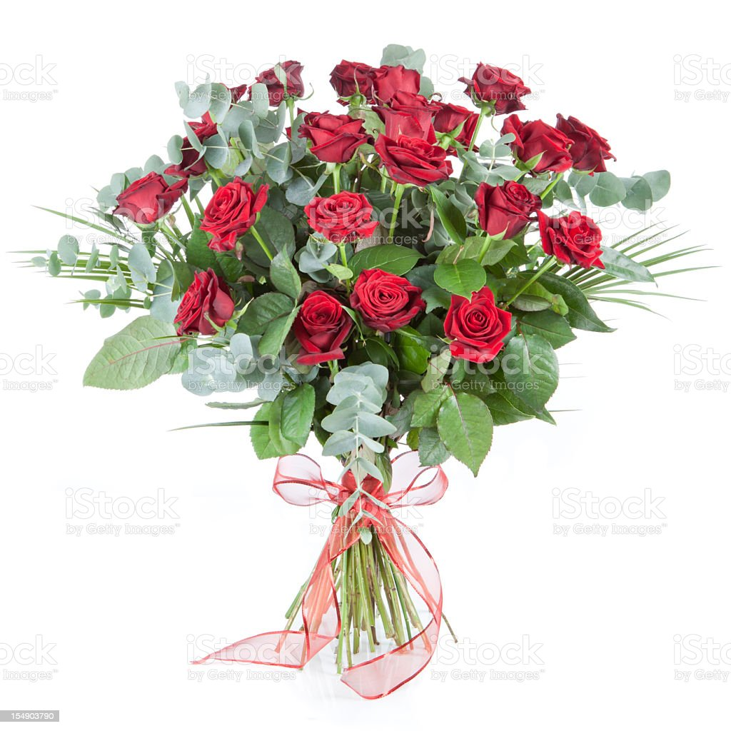 Beautiful red roses and foliage bouquet with lace bow royalty-free stock photo