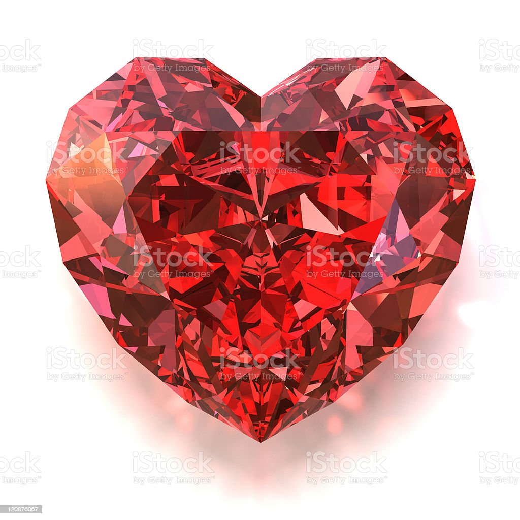 A beautiful red ruby shaped into a heart stock photo