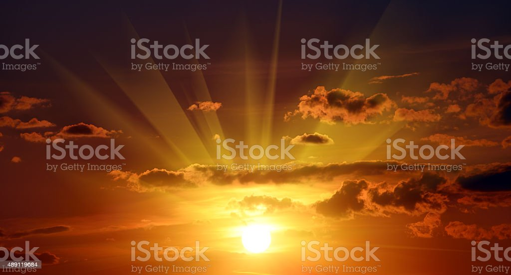 Beautiful red sunset in sky stock photo