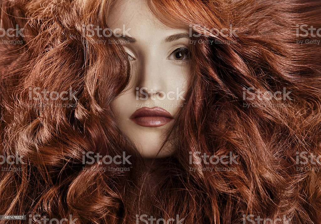 Beautiful redhair woman close-up portrait stock photo