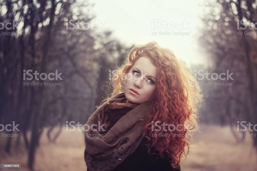 beautiful red-haired girl stock photo