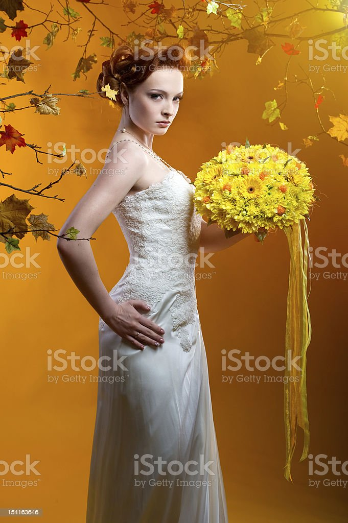 Beautiful redhead bride royalty-free stock photo