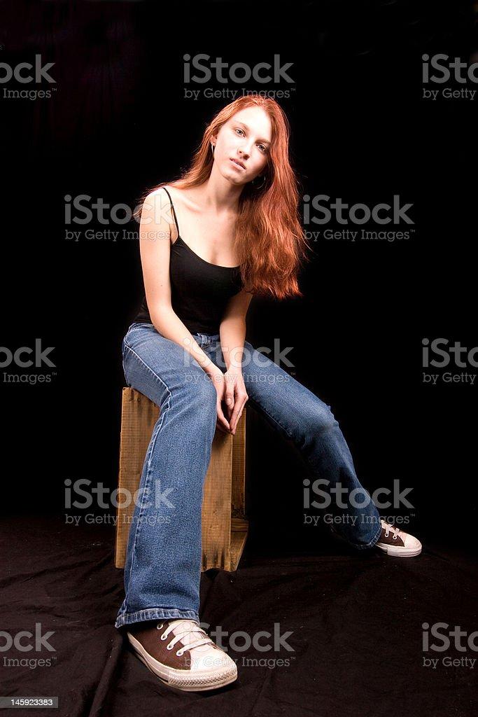 beautiful redhead, wide angle shot royalty-free stock photo