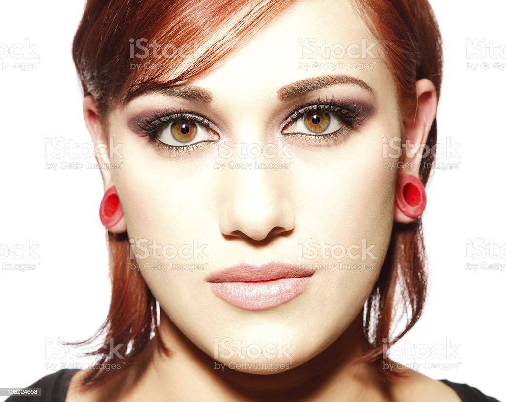 Beautiful redhead with serene expression royalty-free stock photo