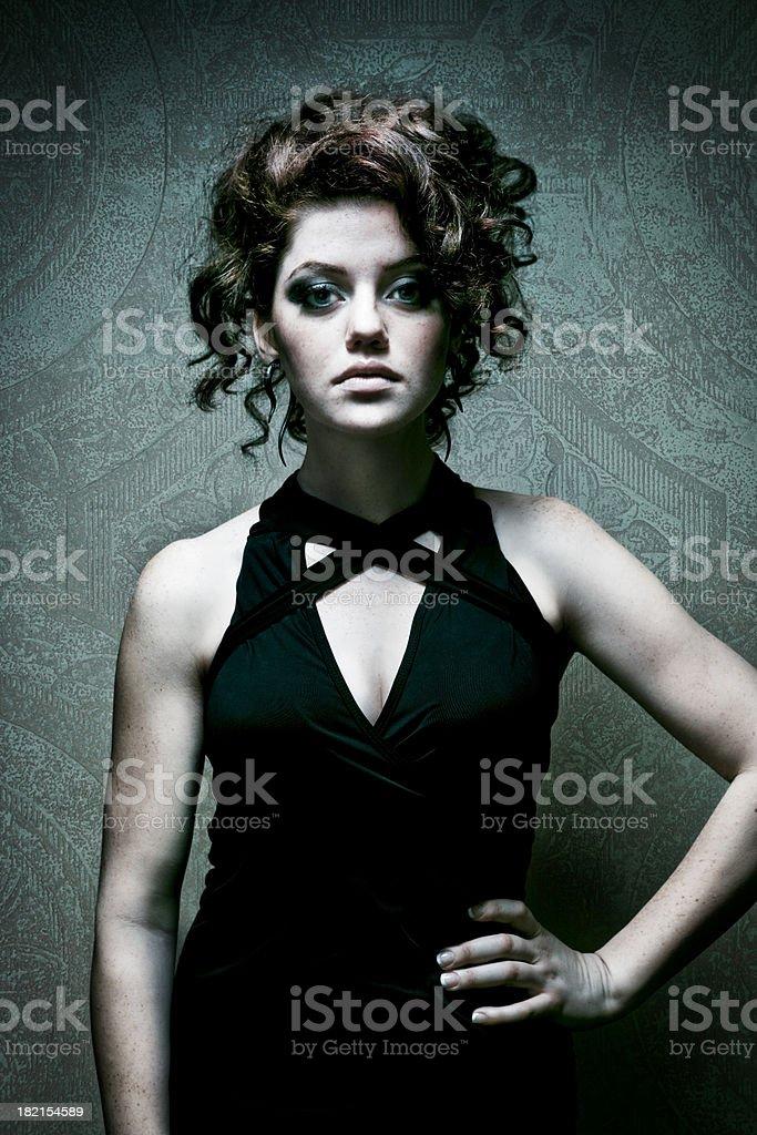 Beautiful Redhead Woman in Studio stock photo