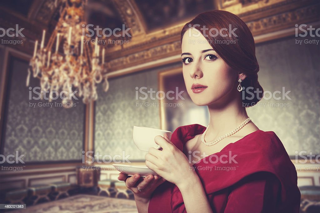 Beautiful redhead women. stock photo