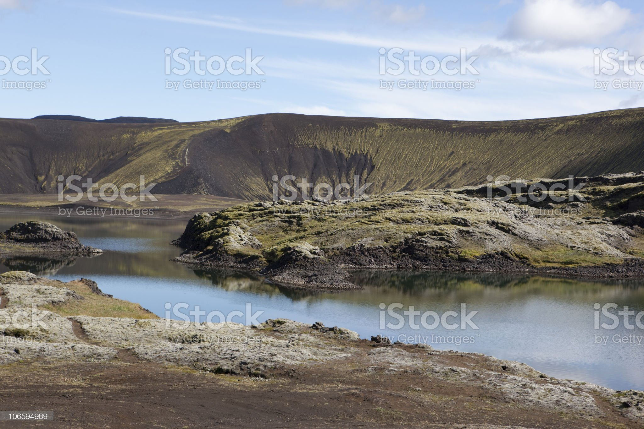 Beautiful reflection and blue lake in Iceland royalty-free stock photo