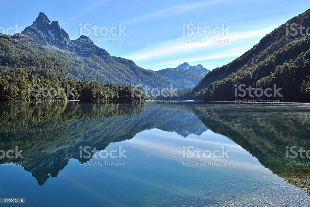 Beautiful reflection at lake Soberania stock photo