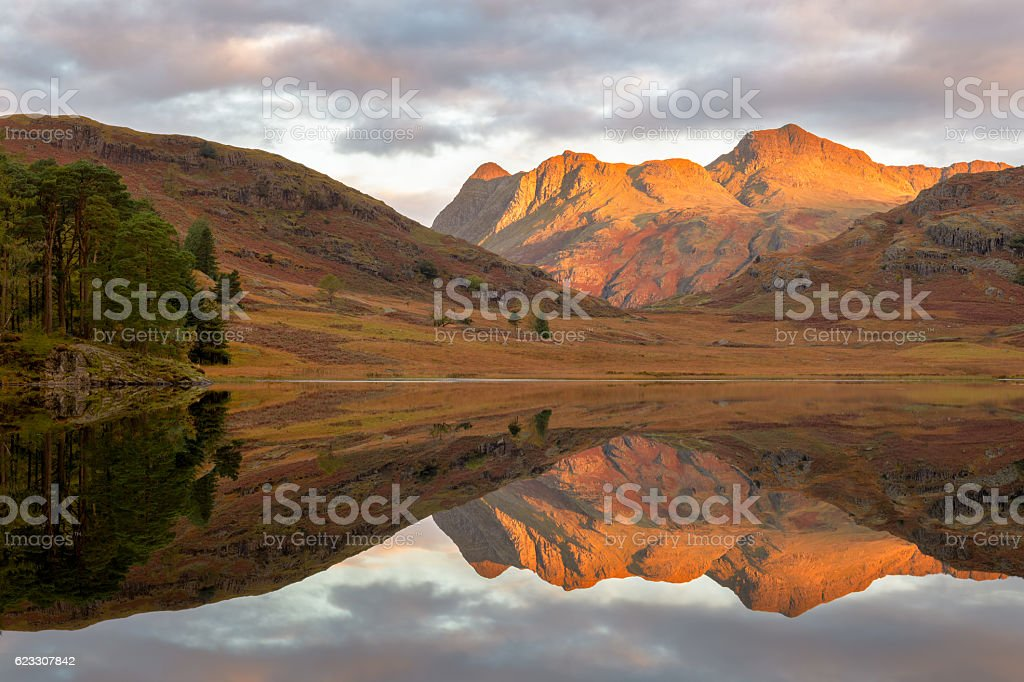 Beautiful reflections at Blea Tarn, Lake District stock photo