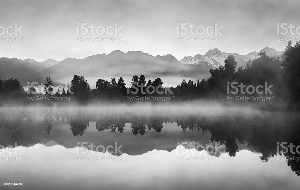 Beautiful reflections of Southern Alps at Lake Matheson stock photo