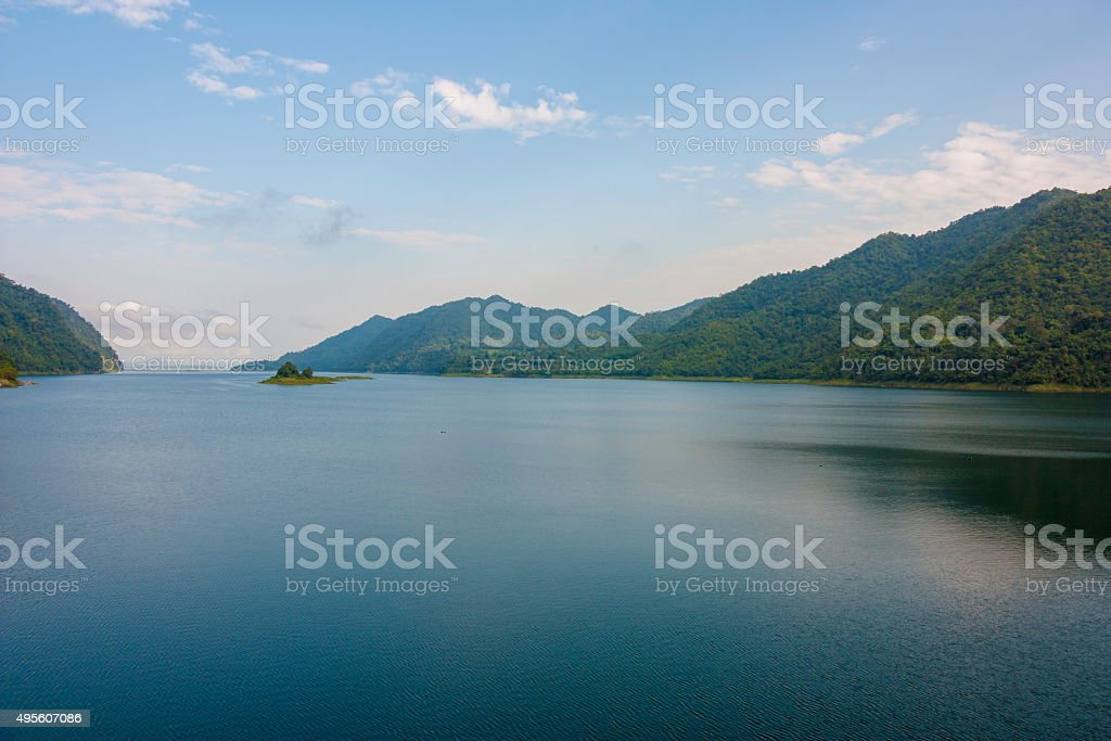 Beautiful Reservoir mountain and water on blue sky stock photo
