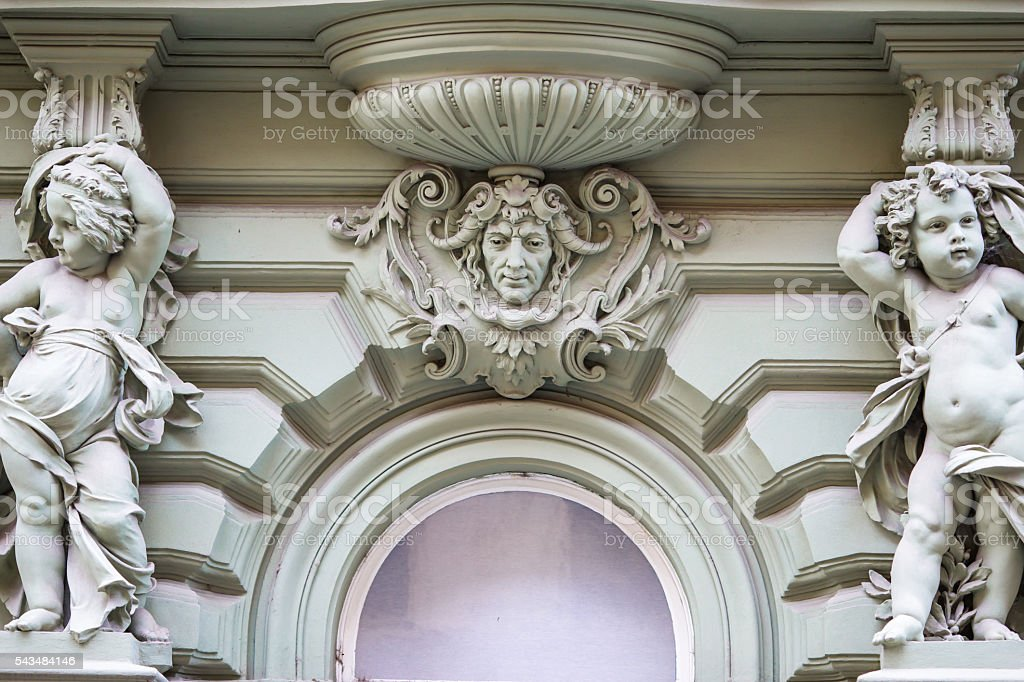 Beautiful residential buildings in the art-nouveau style in Prague stock photo