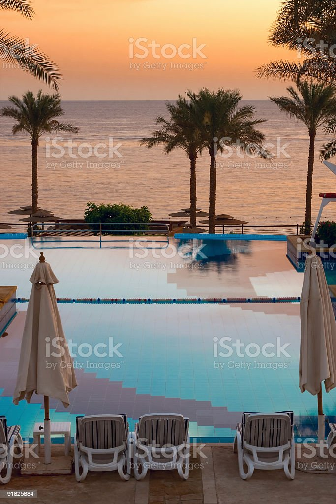 Beautiful Resort Pool on evening. royalty-free stock photo
