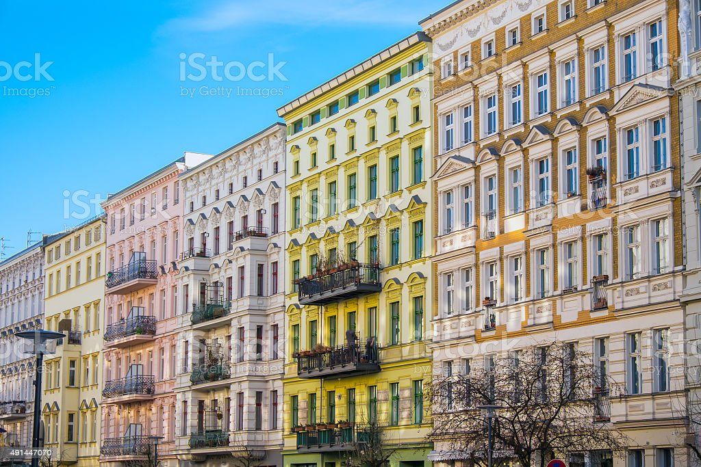 Beautiful restored houses in Berlin stock photo