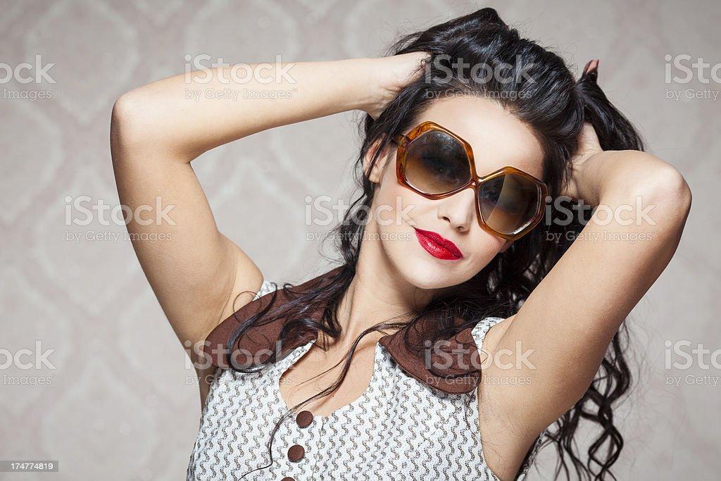 Beautiful retro style girl royalty-free stock photo
