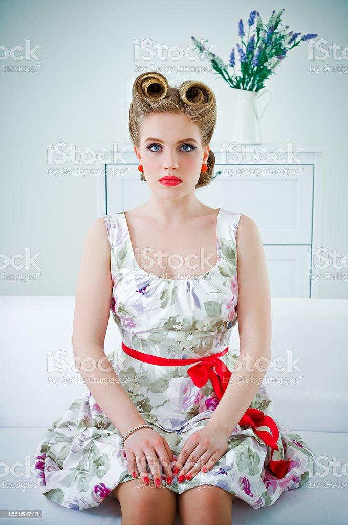Beautiful retro woman royalty-free stock photo