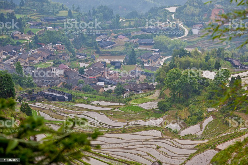 LANDSCAPE: beautiful rice terraces and traditional houses, Yunhe stock photo