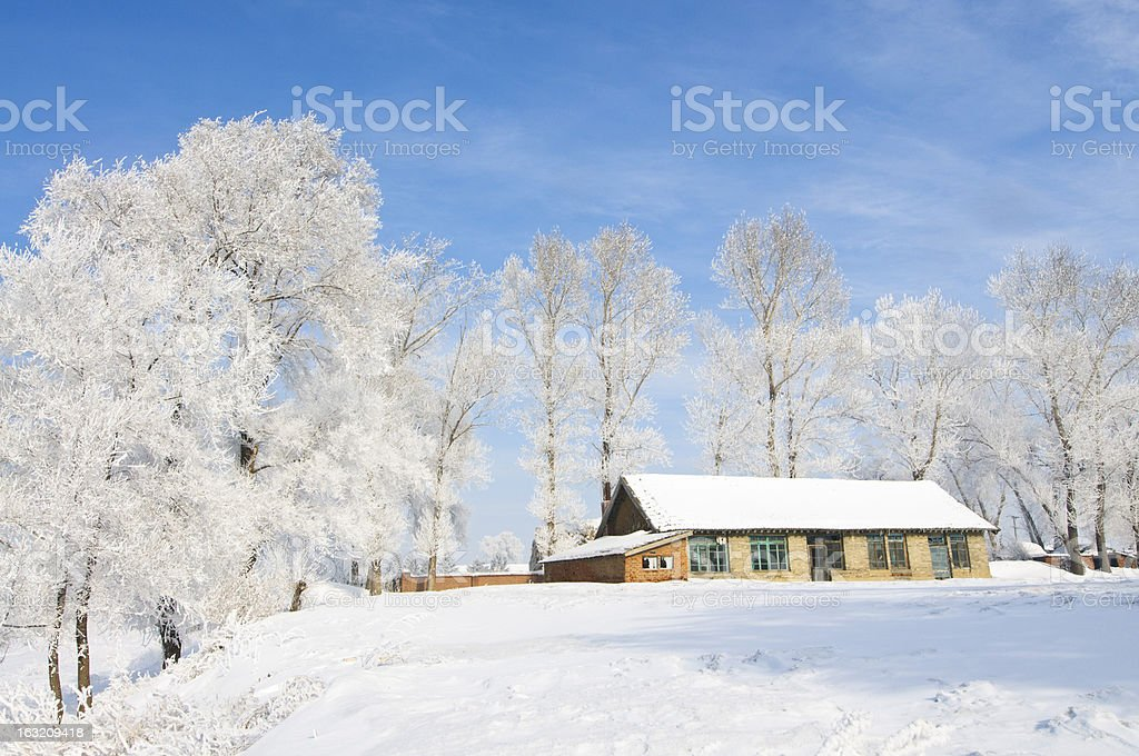 beautiful rime of the Chinese village royalty-free stock photo