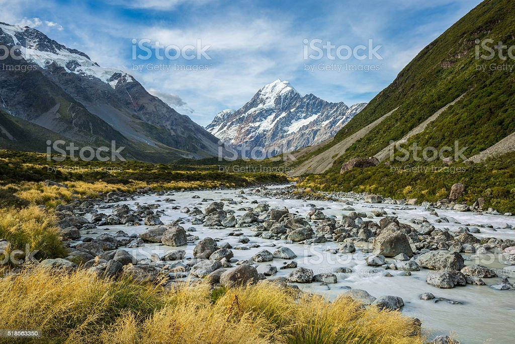 Beautiful river and mountain landscape in Mount Cook National Pa stock photo