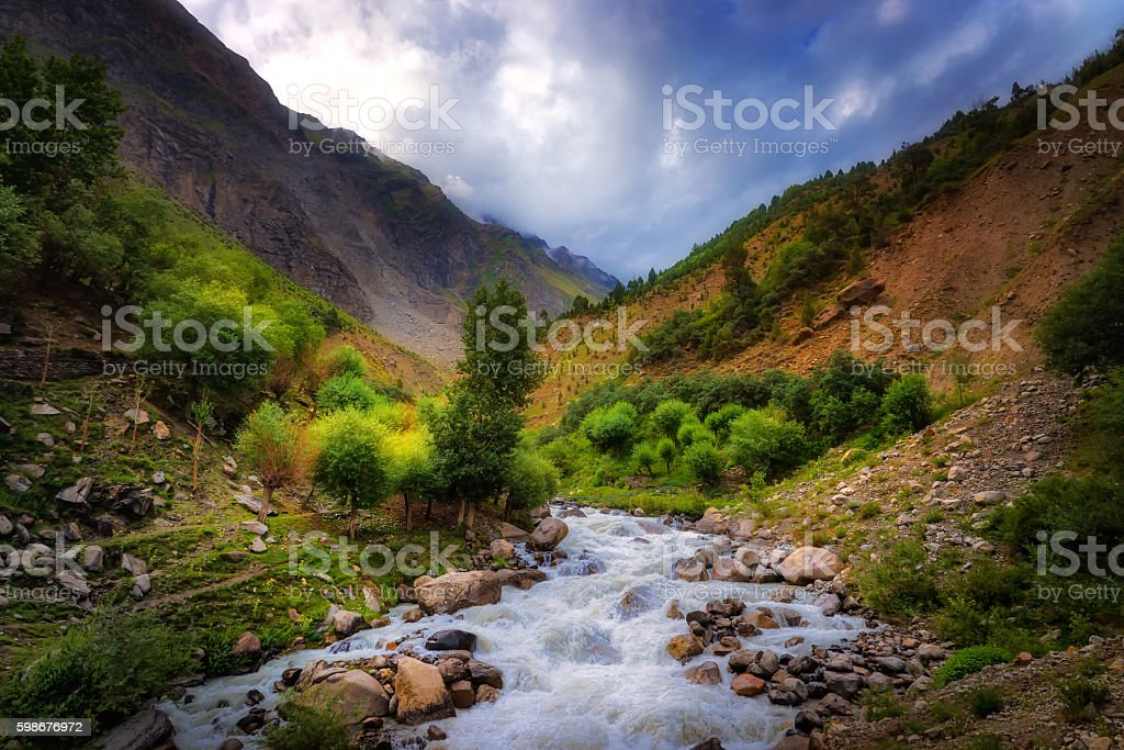 Beautiful river and mountain view in Leh, India stock photo