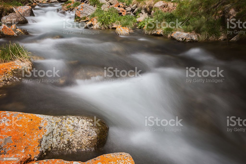 Beautiful river detail with mossy rocks stock photo