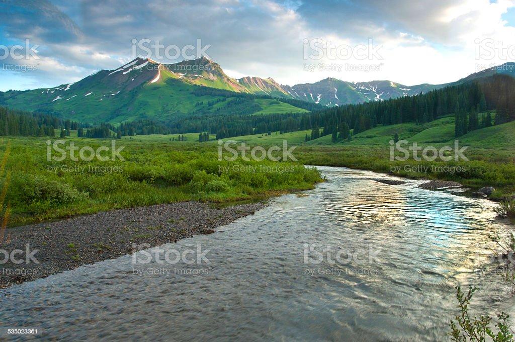 Beautiful river in spring in Colorado. stock photo