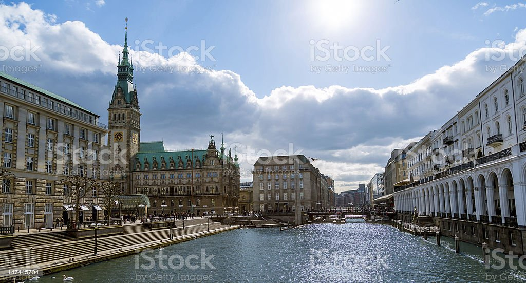 Beautiful river in the middle of a city stock photo